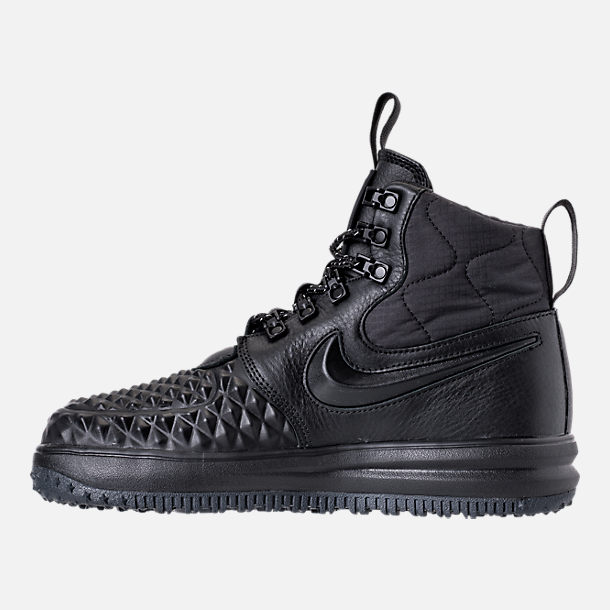 Left view of Women's Nike Lunar Force 1 Duck Boots in Black/Black/White
