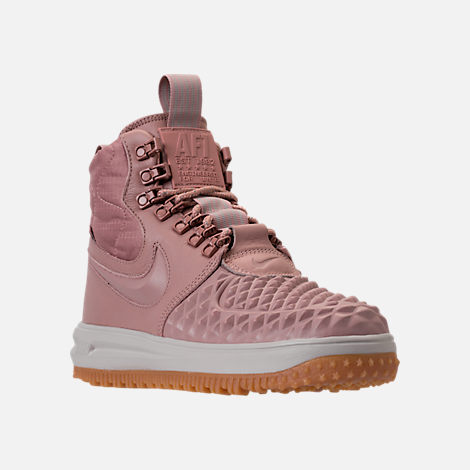 Three Quarter view of Women's Nike Lunar Force 1 Duck Boots in Particle Pink/Light Bone/Summit White