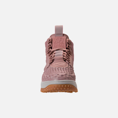 Front view of Women's Nike Lunar Force 1 Duck Boots in Particle Pink/Light Bone/Summit White