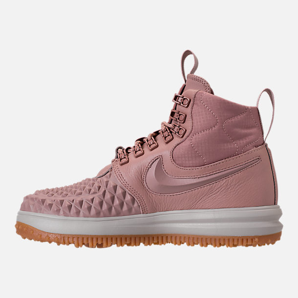 Left view of Women's Nike Lunar Force 1 Duck Boots in Particle Pink/Light Bone/Summit White