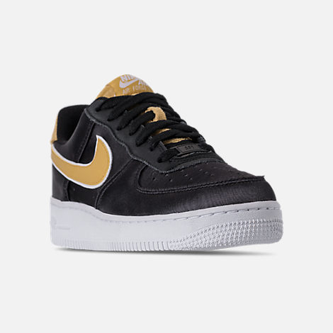 Three Quarter view of Women s Nike Air Force 1  07 SE Casual Shoes in Black ef0061d64