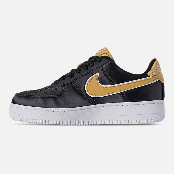 Left view of Women's Nike Air Force 1 '07 SE Casual Shoes in Black/Wheat Gold/White