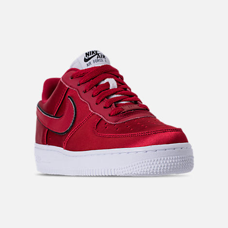 Three Quarter view of Women's Nike Air Force 1 '07 SE Casual Shoes in Red Crush/White/Black