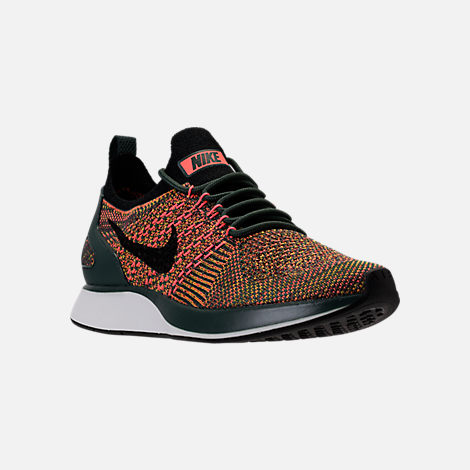 Three Quarter view of Women's Nike Air Zoom Mariah Flyknit Racer Casual Shoes in Vintage Green/Black/Summit White