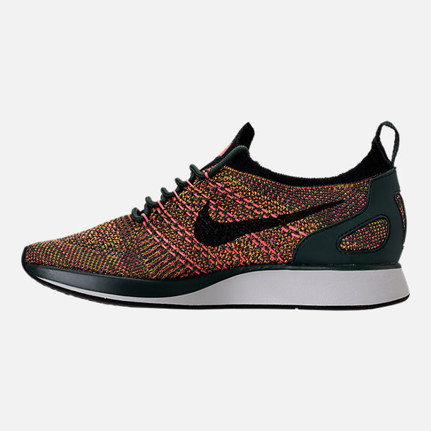 Left view of Women's Nike Air Zoom Mariah Flyknit Racer Casual Shoes in Vintage Green/Black/Summit White