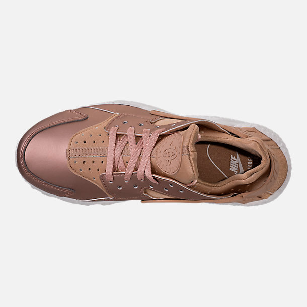 Top view of Women's Nike Air Huarache Run Premium TXT Casual Shoes in Elm/Metallic Red Bronze/Summit