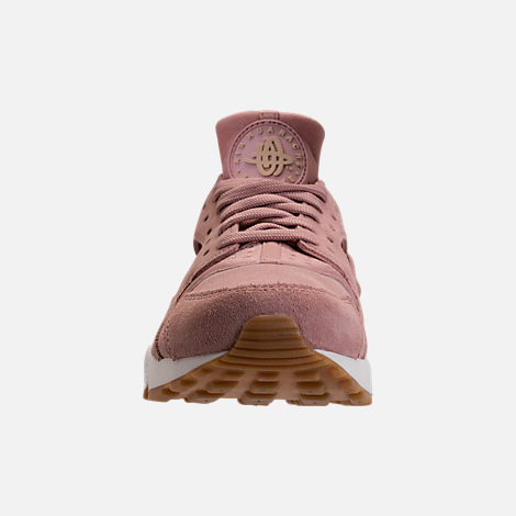 Front view of Women's Nike Air Huarache Run SD Running Shoes in Particle Pink/Gum Medium Brown/Ivory