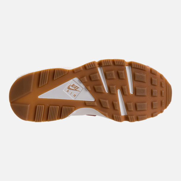 Bottom view of Women's Nike Air Huarache Run SD Running Shoes in Particle Pink/Gum Medium Brown/Ivory
