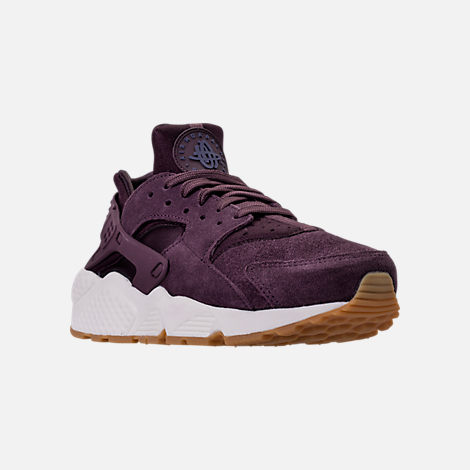 Three Quarter view of Women's Nike Air Huarache Run SD Running Shoes in Port Wine/Gum Light Brown