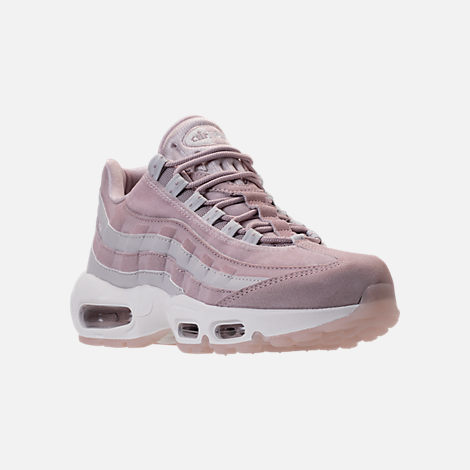 Three Quarter view of Women's Nike Air Max 95 LX Casual Shoes in Particle Rose/Vast Grey