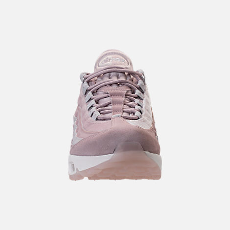 Front view of Women's Nike Air Max 95 LX Casual Shoes in Particle Rose/Vast Grey