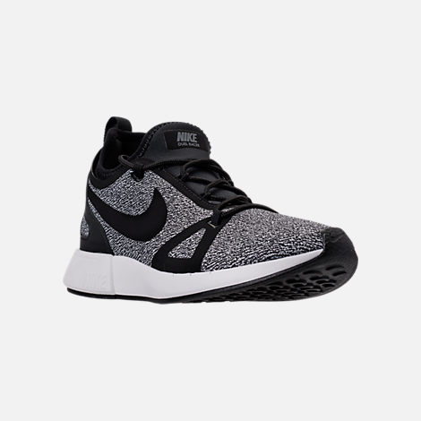 Three Quarter view of Women's Nike Duel Racer Knit Casual Shoes in Black/Dark Grey/Summit White