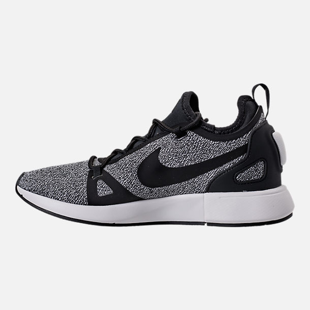 Left view of Women's Nike Duel Racer Knit Casual Shoes in Black/Dark Grey/Summit White