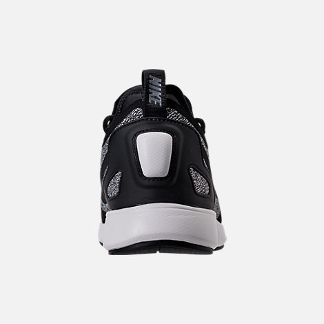 Back view of Women's Nike Duel Racer Knit Casual Shoes in Black/Dark Grey/Summit White