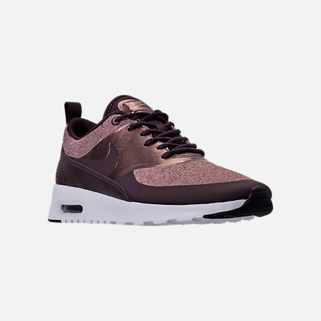 Three Quarter view of Women's Nike Air Max Thea Knit Casual Shoes in Port Wine/Metallic Mahogany