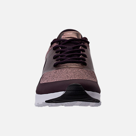 Front view of Women's Nike Air Max Thea Knit Casual Shoes in Port Wine/Metallic Mahogany