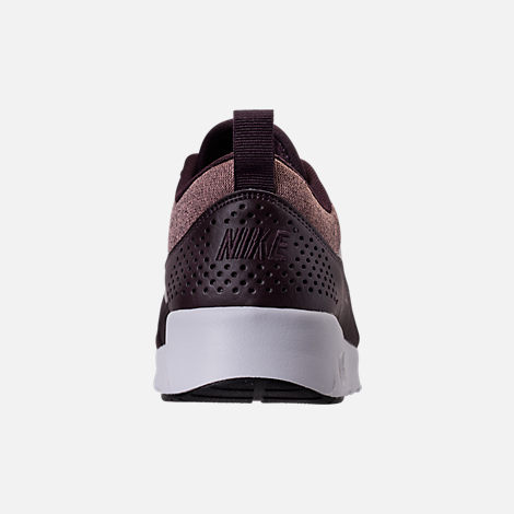 Back view of Women's Nike Air Max Thea Knit Casual Shoes in Port Wine/Metallic Mahogany