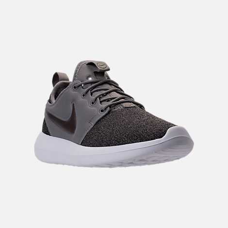 Three Quarter view of Women's Nike Roshe Two Knit Casual Shoes in Dust/Metallic Pewter/Black/White