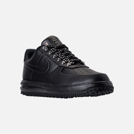 Three Quarter view of Men's Nike Lunar Force 1 2017 Low Duckboots in Triple Black
