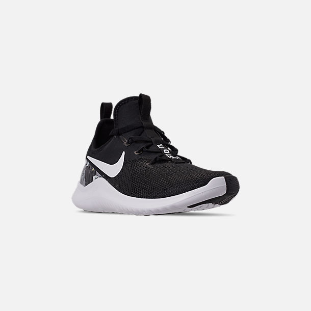Three Quarter view of Women's Nike Free TR 8 AMP Training Shoes in Black/White