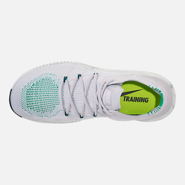 Top view of Women's Nike Free TR Flyknit 3 AMP Training Shoes in Pure Platinum/Pure Platinum/Clear
