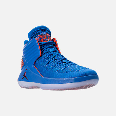 Three Quarter view of Men's Air Jordan XXXII Basketball Shoes in Photo Blue/Team Orange/Metallic Silver