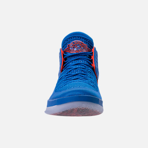 Front view of Men's Air Jordan XXXII Basketball Shoes in Photo Blue/Team Orange/Metallic Silver