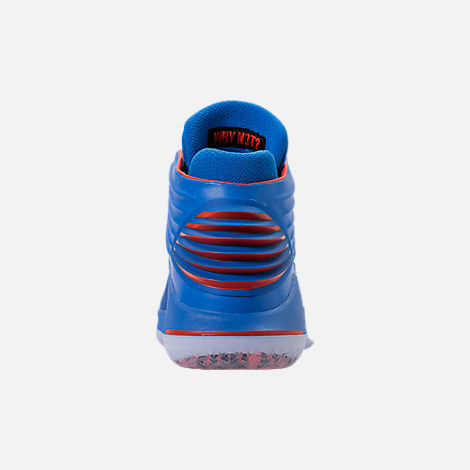 Back view of Men's Air Jordan XXXII Basketball Shoes in Photo Blue/Team Orange/Metallic Silver