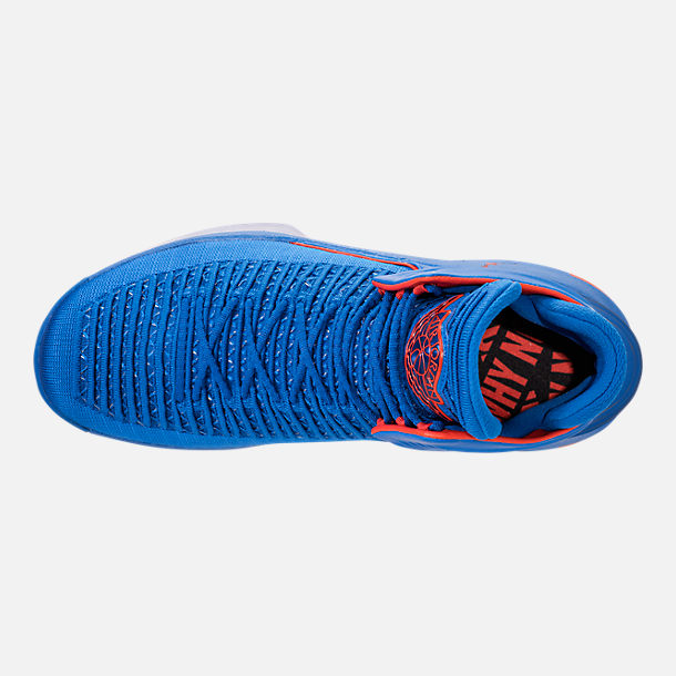 Top view of Men's Air Jordan XXXII Basketball Shoes in Photo Blue/Team Orange/Metallic Silver