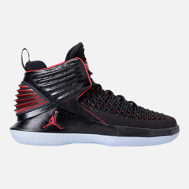 Right view of Kids' Grade School Air Jordan XXXII Basketball Shoes in Black/University Red