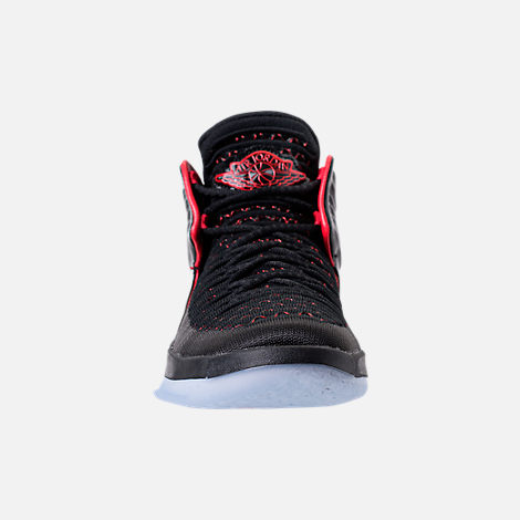 Front view of Kids' Grade School Air Jordan XXXII Basketball Shoes in Black/University Red