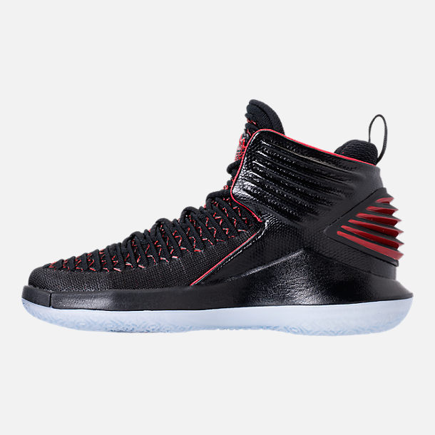 Left view of Kids' Grade School Air Jordan XXXII Basketball Shoes in Black/University Red