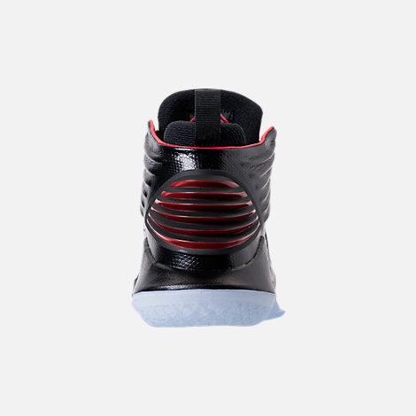Back view of Kids' Grade School Air Jordan XXXII Basketball Shoes in Black/University Red