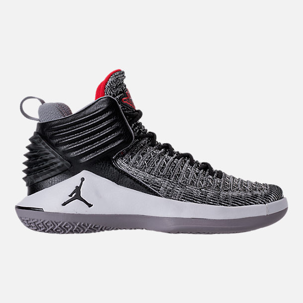Right view of Kids' Grade School Air Jordan XXXII Basketball Shoes in Black/University Red/White/Wolf Grey