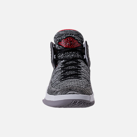 Front view of Kids' Grade School Air Jordan XXXII Basketball Shoes in Black/University Red/White/Wolf Grey