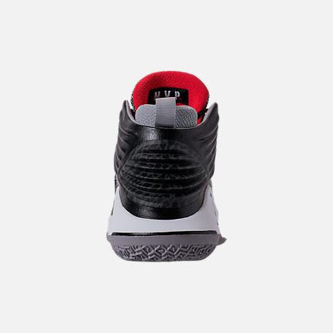 Back view of Kids' Grade School Air Jordan XXXII Basketball Shoes in Black/University Red/White/Wolf Grey