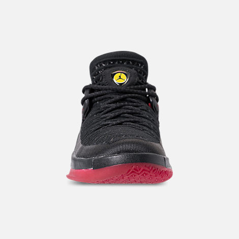 Front view of Boys' Grade School Air Jordan XXXII Low Basketball Shoes in Black/Varsity Red/Tour Yellow