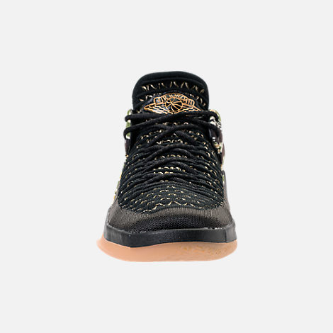 Front view of Boys' Grade School Air Jordan XXXII Low Basketball Shoes in Black/Metallic Gold/White