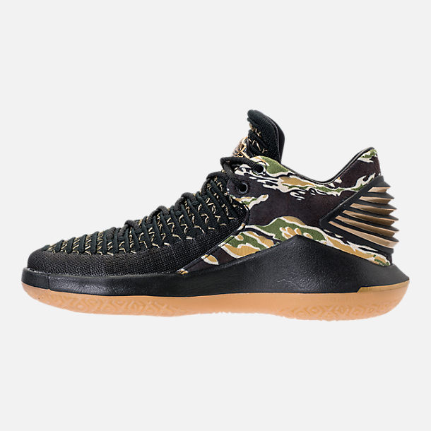 Left view of Boys' Grade School Air Jordan XXXII Low Basketball Shoes in Black/Metallic Gold/White