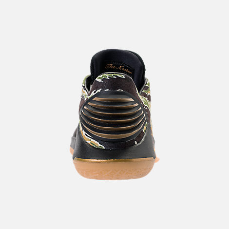 Back view of Boys' Grade School Air Jordan XXXII Low Basketball Shoes in Black/Metallic Gold/White