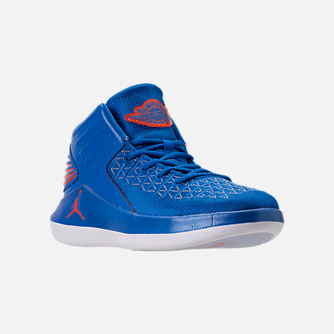 Three Quarter view of Boys' Preschool Air Jordan XXXII Basketball Shoes in Photo Blue/Team Orange/Metallic Silver