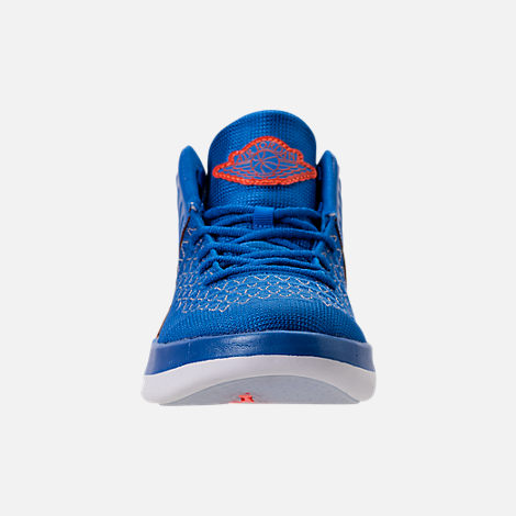 Front view of Boys' Preschool Air Jordan XXXII Basketball Shoes in Photo Blue/Team Orange/Metallic Silver