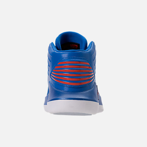Back view of Boys' Preschool Air Jordan XXXII Basketball Shoes in Photo Blue/Team Orange/Metallic Silver