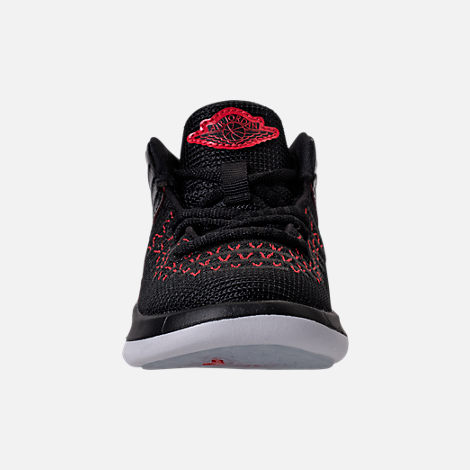 Front view of Boys' Toddler Air Jordan XXXII Basketball Shoes in Black/University Red