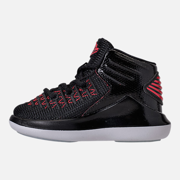 Left view of Boys' Toddler Air Jordan XXXII Basketball Shoes in Black/University Red