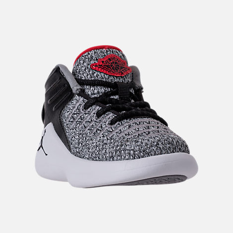 Three Quarter view of Boys' Toddler Air Jordan XXXII Basketball Shoes in Black/University Red/White