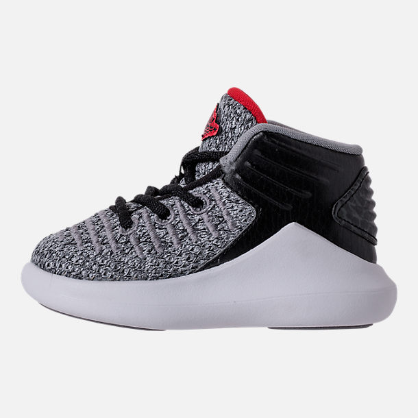 Left view of Boys' Toddler Air Jordan XXXII Basketball Shoes in Black/University Red/White
