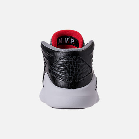 Back view of Boys' Toddler Air Jordan XXXII Basketball Shoes in Black/University Red/White