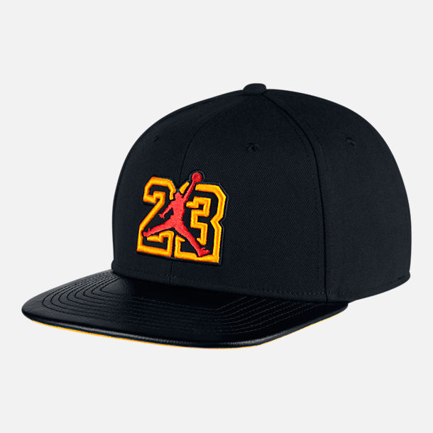 Front view of Air Jordan Pro He Got Game Retro 13 Snapback Hat in Black/University Gold