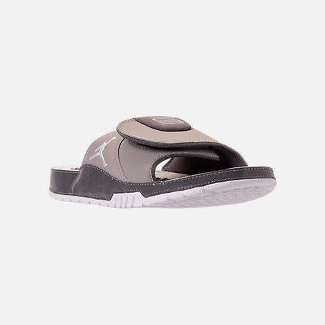 Three Quarter view of Men's Jordan Hydro XI Retro Slide Sandals in Medium Grey/White/Gunsmoke